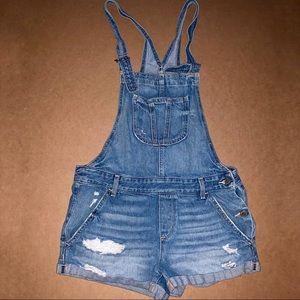 [Hollister] Overall Denim Jean Shorts - Medium